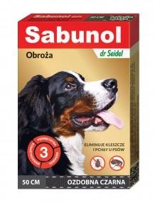 SABUNOL obroża ozdobna przeciw pchłom i kleszczom dla psa – czarna