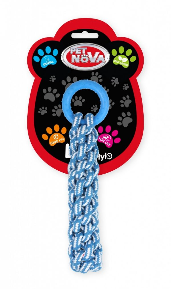 PET NOVA Gruby węzeł sznura oraz ringo 30cm – niebieskie