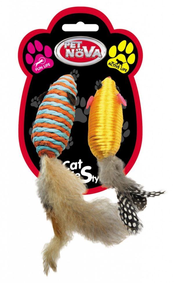 PET NOVA zabawka dla kota – myszki z piórkami