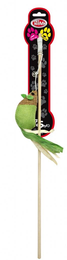 PET NOVA zabawka dla kota – wędka z zieloną myszką
