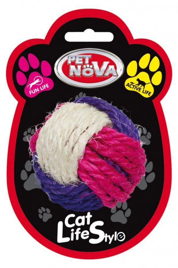 PET NOVA zabawka dla kota – piłka sizalowa