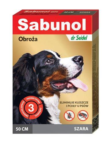 SABUNOL obroża na pchły i kleszcze dla psa – szara